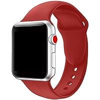 Tervoka Für Apple Watch Armband 38mm(40mm Series 4), Weiche Silikon Ersatz Armbänder für Apple Watch Armband 38mm 40mm Series 4/3/2/1, Sport, Edition, M/L, Rot