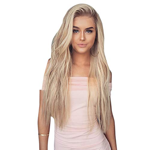 (DDUPNMONE Lace Front Perücken Blonde Ombre Perücke, 24 Zoll lang gerade Mitte Teil Synthetic Full Perücke Fashion Ash Blonde 2 Tones mit Braun Wurzeln für Damen)