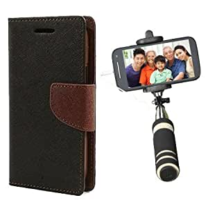 Aart Fancy Diary Card Wallet Flip Case Back Cover For Samsung G350 - (Blackbrown) + Mini Aux Wired Fashionable Selfie Stick Compatible for all Mobiles Phones By Aart Store