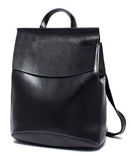 Ghlee Frauen Vertikale koreanische weibliche Rucksack beiläufige wilde Art und Weisekursteilnehmer Schulter Beutel echtes Leder Handtaschen (Schwarzes) (Ein-schulter-rucksack Leder)