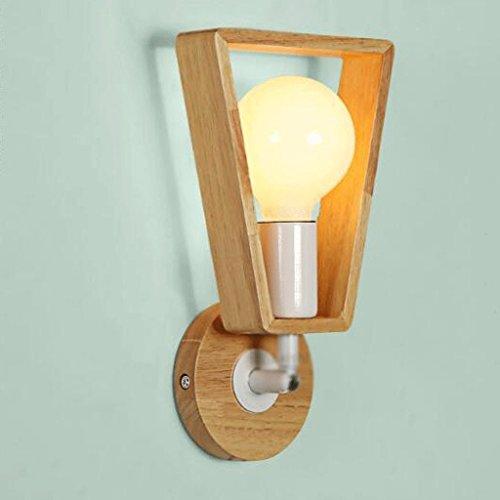 GAODUZI Solide Bois Applique Chambre Chevet Lampe Simple Creative Balcon Allée Lampes Lampe Murale Creative, Bois Massif, Tête Universelle Design E27