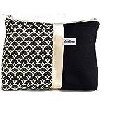 trousse fourre tout noir et blanc a motifs eventails, pochette maquillage en toile et tissu imprimé graphique, pochon zippé