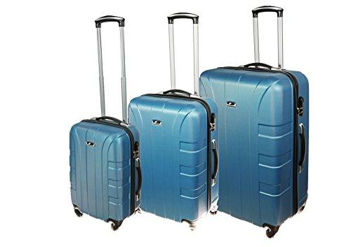 P-Collection Kofferset Hartschale 3-teilig Koffer Trolley Handgepäck Reisekoffer Hartschalenkoffer M - L - XL-3er Set 5 Farben (3er Set, eisblau)
