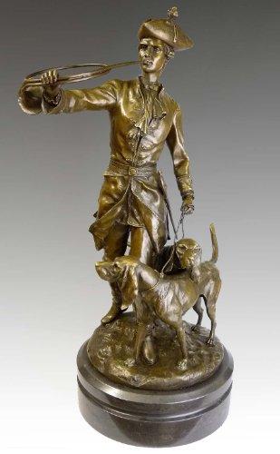 Kunst & Ambiente - Jugendstil Bronzefigur - Herrschaftliche Jagdszenerie - Auguste Moreau - Jagdszene Skulptur in Bronze - Wohndeko in Bronze - Deko Figuren Edel - Jagen Jagd Jäger