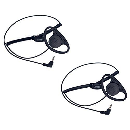 2 x Coodio Security 3,5mm D-Ring Nur Empfang Ohrhörer Kopfhörer Reiner Headset Für Funkgeräte Lautsprechermikrofon Handmikrofon