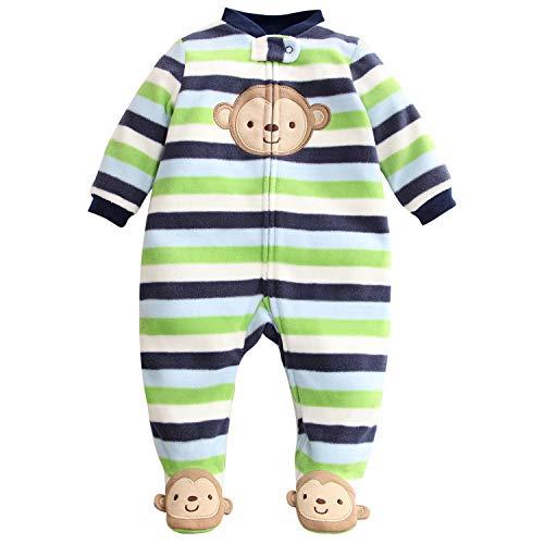 Bambino pagliaccetto fleece tutina pigiama carino tuta maniche lunghe body 3-6 mesi