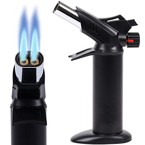 WWSZ Küchenbrenner, Doppelflamme, Flambierer, von Crème Brûlée bis BBQ, von Köchen verwendeter Flambierbrenner - Butangasbrenner - Schwarz