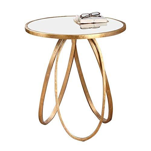 HJBH Tisch - Runder Beistelltisch/Couchtisch/Sofa Couchtisch Metall Schmiedeeisen Kleiner Couchtisch -60 * 66CM -
