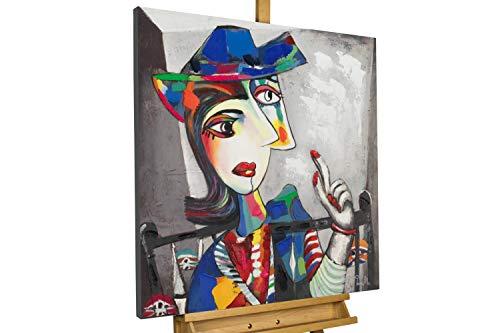 KunstLoft® Acryl Gemälde 'Double Life' 80x80cm   original handgemalte Leinwand Bilder XXL   Abstrakt Frau Bunt Grau   Wandbild Acrylbild Moderne Kunst einteilig mit Rahmen