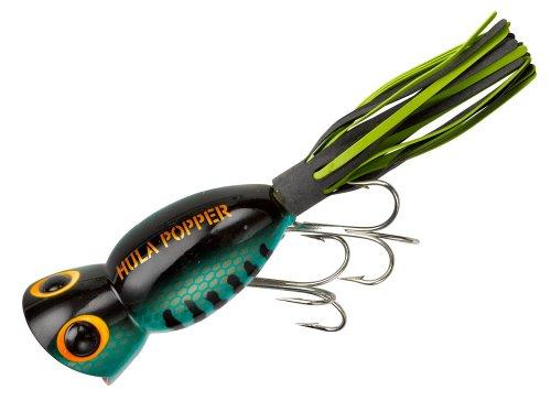 Arbogast Lure Company Hula Popper Leurre de pêche, Bass - Black/Chartreuse Skirt