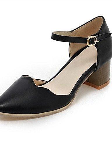 WSS 2016 Chaussures Femme-Mariage / Habillé / Décontracté / Soirée & Evénement-Noir / Bleu / Blanc-Gros Talon-Talons-Talons-Similicuir black-us4-4.5 / eu34 / uk2-2.5 / cn33