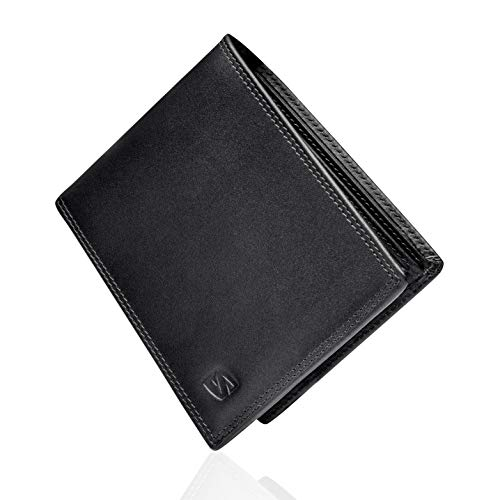 Negro Carteras de Hombre con Protección RFID y Caja de Regalo Billeteras Cuero Billetero Billeteros Portamonedas Negros Monedero Monederos Estuche Masculino Chico Men Leather Wallet Bloqueo Seguridad