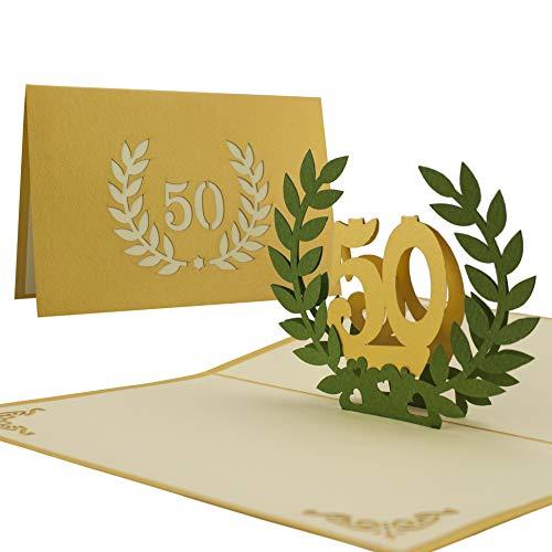Glückwunschkarte I Karte goldene Hochzeit, Einladung 50 Jahre Hochzeit I Edel Elegant Hochwertig I Pop-Up-Karte,L11 (Eleganter 50 Geburtstag Einladungen)
