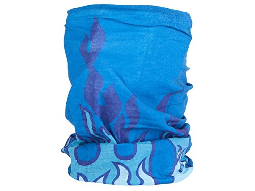 Foulard fazzoletto da collo sciarpa funzionale multiuso scaldacollo tubolare leggero e morbido estate primavera autunno inverno loop anello ragazze colorati stola accessorio moderno lifestyle, Multituch MF-140-173:MF-144 fiamma blu