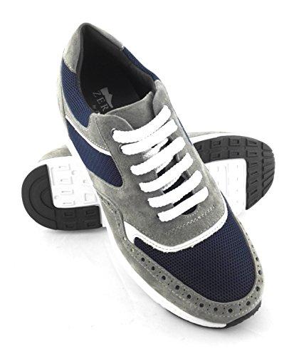 Ginnastica Dintérieur 100 Scarpe Entro Pelle Design blu Navy Centimetri Con Da Zerimar Grigio Aumenti Sette Fashion Chiaro Marcatura 5rrqn7Atxw
