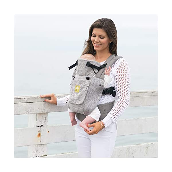 LÍLLÉbaby  Complete Airflow 6-in-1 Baby Carrier, Grey Mist Lillebaby Made from breathable mesh fabric to help keep parent and child cool and comfortable and with 6 carrying positions - Foetal, infant inward, outward, toddler inward, hip, back - The only carrier you'll ever need! Suitable from 3.2- 20kg (birth to approx. 4 years old), providing extended comfortable use for parent and child with no additional infant support required for new-borns - the ergonomic adjustable seat is acknowledged as 'hip-healthy' by the International Hip Dysplasia Institute Unique spacious head support with elasticated straps - soothes infants with gentle lulling motion and provides excellent support as children grow 9