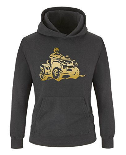 Comedy Shirts - Quad ATV - Jungen Hoodie - Schwarz/Gold Gr. 152/164