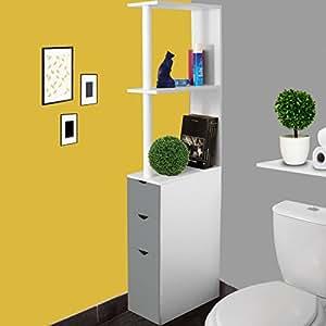 idmarket meuble wc tag re bois blanc et gris gain de place pour toilettes 3 portes. Black Bedroom Furniture Sets. Home Design Ideas