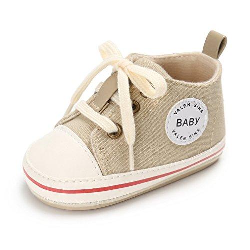Nette Baby-Segeltuch-Turnschuh-Rutschfeste Weiche Trainer-Schuhe 0-18M (L: 12-18 Monate, Khaki)