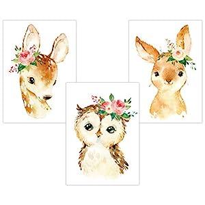 LALELU-Prints | A4 Bilder Kinderzimmer Poster | Zauberhafte Wald-Tiere mit Blumen | Babyzimmer Deko Junge Mädchen | 3er…
