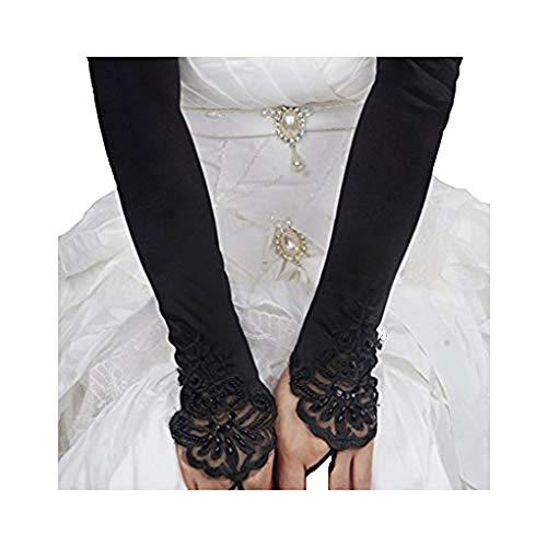 (Liying Neu Damen Lange Hochzeithandschuhe Brauthandschuhe Fingerlose Spitze Handschuhe Hochzeit Abend Party Satin sexy Spitzenhandschuhe, Schwarz, One Size)