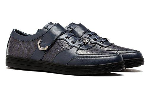 OPP Chaussure de Loisire A Lacets Homme Sneakers en Cuir Ornement de Zip Bleu