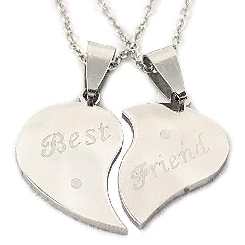 AKIEE Anhänger Halskette Best Friends Forever BFF Beste Freunde Freundschaft Silber Schwarz Edelstahl 1