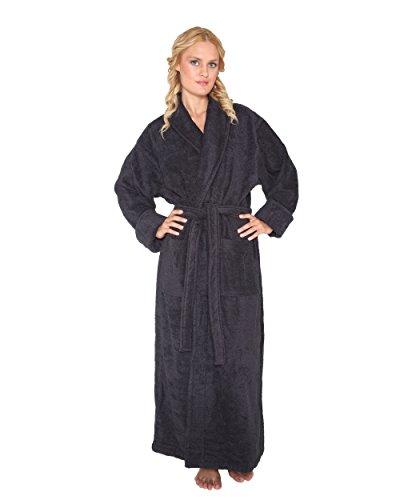 Optimal - Peignoir de bain en éponge un col châle extra-long pour femme/homme 100% Coton Tissu bouclette doux Robe de chambre Noir