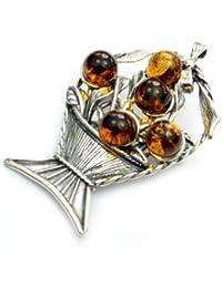 925 pulsera de plata de ley y joyas de ámbar báltico - broche 4019