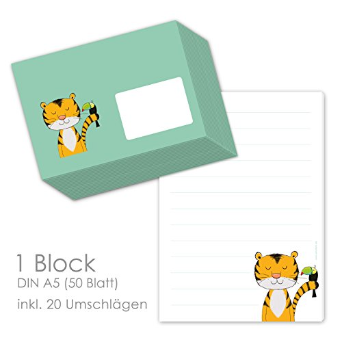 """Briefpapier Set für Kinder""""TIGER THEOBALD"""" DIN A5 - Briefblock liniert mit 50 Blatt inklusive 20 passenden Umschlägen/Einschulung Schulkinder/Briefpapier für Jungs mit Linien"""