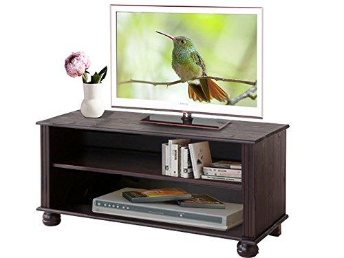MACON TV-Lowboard Fernsehtisch Fernsehschrank Kiefer massiv havana lackiert, dunkelbraun