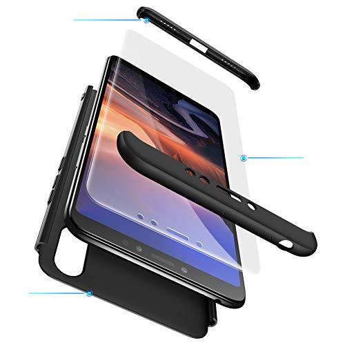 Funda XiaoMi Mi Max 3 Carcasa XiaoMi Mi Max 3 con [ Protector de Pantalla de Vidrio Templado ] 3 en 1 Desmontable XiaoMi Mi Max 3 Funda Protectora - pulgada 360 ° complete package protection - Negro