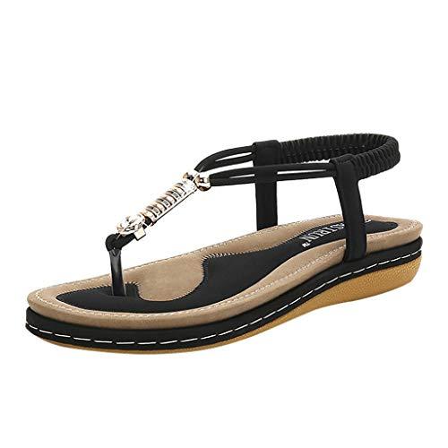 Mitlfuny Damen Sommer Sandalen Bohemian Flach Sandaletten Sommer Strand Schuhe,Damenmode Sommer Sandalen Rundkopf Römer Casual Strand Hausschuhe Schuhe (Schuhe Crystal-nike)