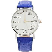 Souarts mujer reloj pulsera cuarzo Analog Reloj Redondo, diseño de matemáticas azul ...
