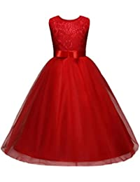 Rawdah Vestito Floreale Ragazza dei Bambini Principessa Formale Bowknot  Festa dello Spettacolo Abito da Sposa Damigella ee8c66c6cd2