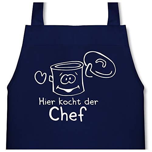 Shirtracer Kleine Köche & Bäcker - Hier kocht der Chef Kochtopf - 60 cm x 50 cm (H x B) - Navy Blau - X978 - Kinder Kochschürze