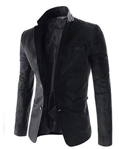 Uomo Blazers Casual Due bottoni Elegante Slim Fit Cappotto Giacca Blazer Nero