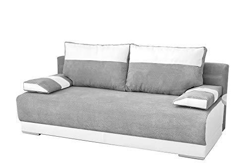 mb-moebel Couch mit Schlaffunktion und Bettkasten Sofa Schlafsofa Wohnzimmercouch Bettsofa Ausziehbar Nisa (Grau + Weiß)