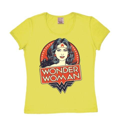 T-shirt donna Wonder Woman - Ritratto - DC Comics - Wonder Woman - Portrait - L'eroina - maglietta girocollo di LOGOSHIRT - giallo - design originale concesso su licenza, taglia L