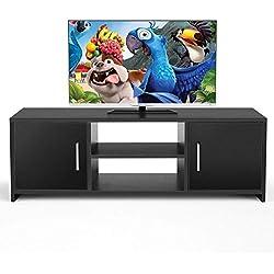 HOMFA Meuble TV Moderne en Bois Meuble Télévision Meuble TV Bas avec 2 Portes et Étagères 110 * 35 * 36cm (Noir)