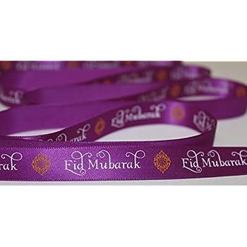 10mm//16mm width *Various quantities* eid ribbon Purple Eid Mubarak satin ribbon
