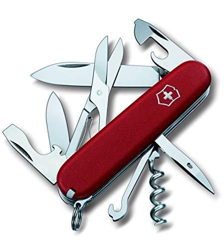 Victorinox Taschenmesser Climber, 14 Funktionen, Schere, Mehrzweckhaken, Korkenzieher, rot matt -