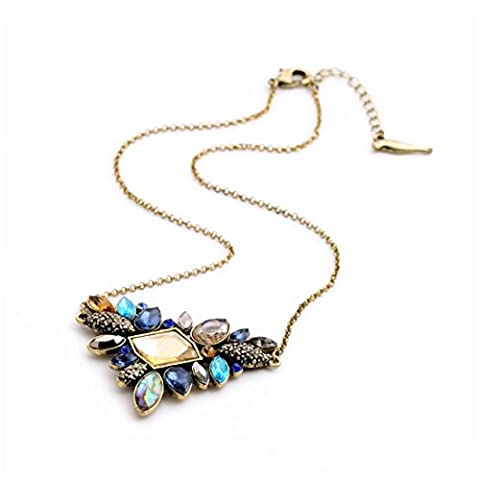 LARESDOMI Vintage Gold-tone Crystal Incrusted Created Gemstones Classic Art Deco Style Pendant Necklace