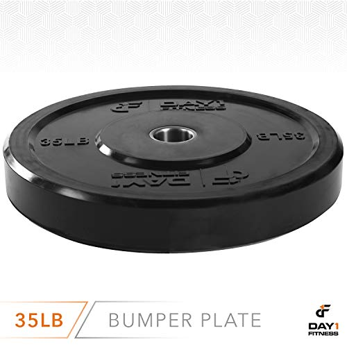 Day-1-Fitness-Olympic-Bumper-Weighted-Plate-2-For-Barbells-Bars--35-lb-Single-Plate-Shock-Absorbing-Minimal-Bounce-Steel-Weights-with-Bumpers-for-Lifting-Strength-Training-and-Working-Out