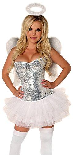 Gänseblümchen-Corsetts Elite, 4-teiliges Engel-Kostüm - Silber - 4X (Halo Elite Kostüm)