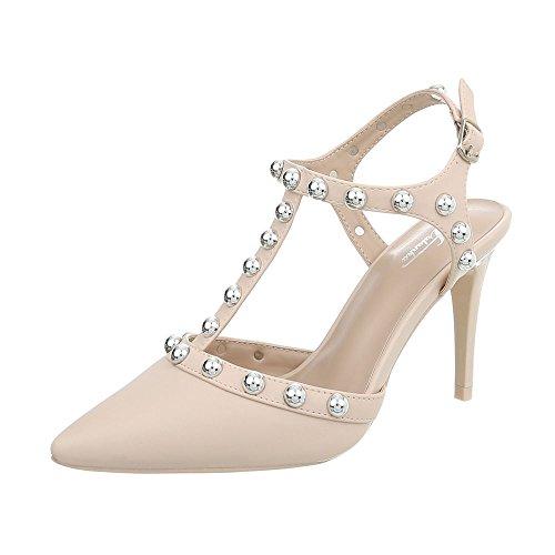 Ital-Design Damenschuhe Sandalen & Sandaletten High Heel Sandaletten Synthetik Beige Gr. 39 Strap Pump Schuhe