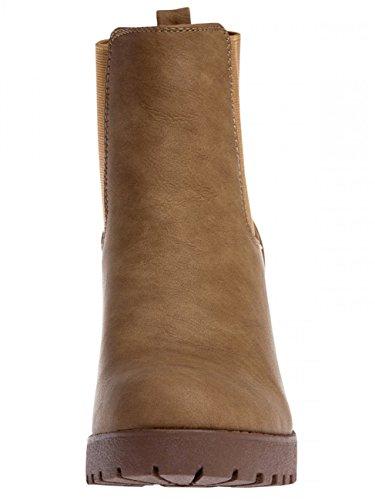 CASPAR SBO045 Damen Vintage Plateau Stiefeletten Camel