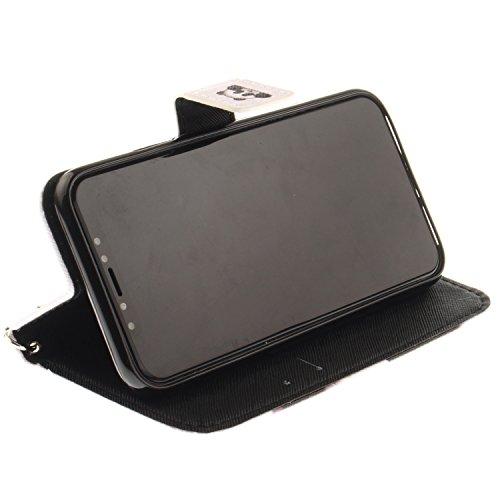 Coque Avec Cordon Peint pour iPhone X, Frlife | Housse en Cuir PU pour iPhone X Coque avec Étui en Silicone, Protection Complète pour Votre Téléphone Portable color4