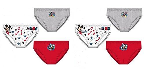 Pack de 6 Slips Diseño Mickey Mouse (Disney) 3 Diseños Diferentes Tallas 2/3, 4/5 y 6/8 Años (100% Algodon)
