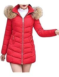 Doudoune Femme Mode Hiver Gaine A Capuche Poches Latérales Zipper avec  Fermeture Éclair Chaud Manches Longues f6b3dfdf44b